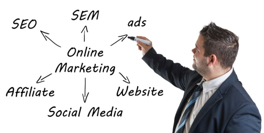 Man writing Online Marketing process on whiteboard picture