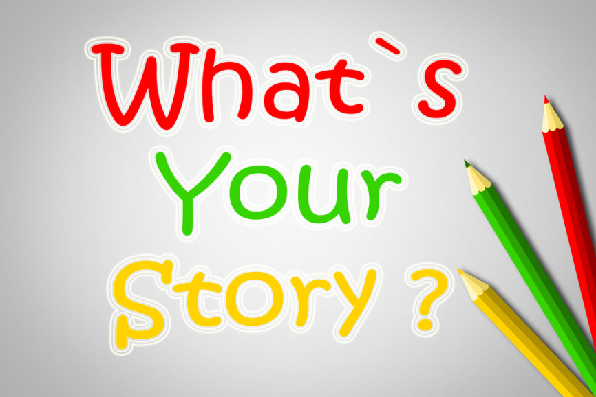 What's Your Story Concept text on background
